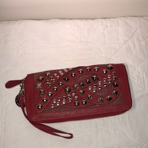 NIcole Lee Studded Red Wristlet